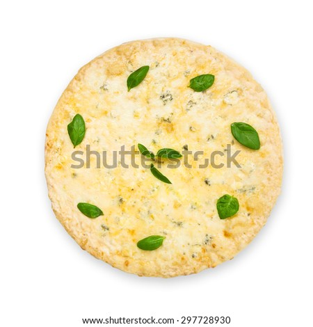 "Delicious ""Quaddro formaggi""  four cheese pizza with parmesan, cheddar, mozzarella and  blue cheese decorated with basil leaves - thin pastry crust at white background - stock photo"