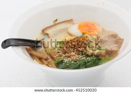 Delicious ramen Japanese food on white background - stock photo