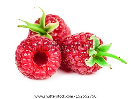 Delicious raspberry isolated on white background