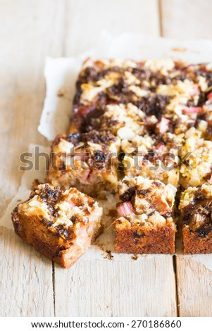 Delicious rhubarb cake with almonds and hazelnut flour
