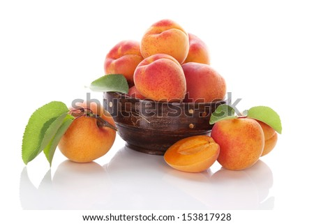Delicious ripe apricots isolated on white background with reflection. Healthy fruit eating.  - stock photo