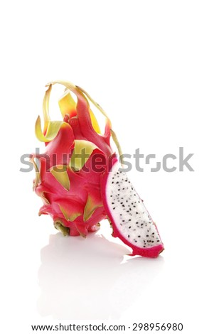 Delicious ripe dragon fruit isolated on white background. Tropical fruit, pitaya concept. Healthy eating.  - stock photo