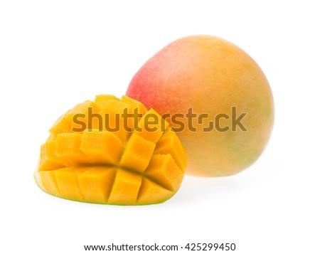 Delicious ripe mango fruit with slice mango isolated on white background - stock photo
