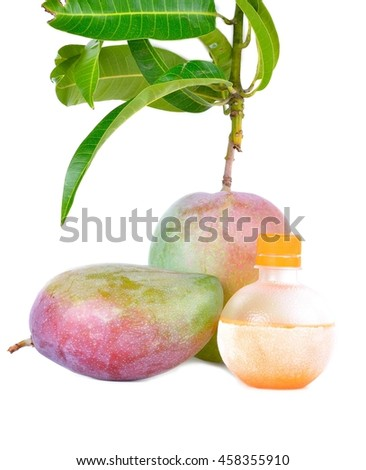 Delicious ripe mango with green leaf on white background, Fresh mango on the branch illustration, Home Made Fresh Juices Smoothie Glass Bottles, Mango juice high Vitamins  - stock photo