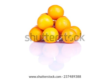 delicious ripe orange isolated on white background with reflection