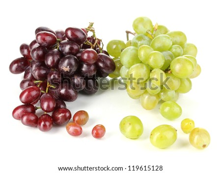 Delicious ripe pink and green grapes isolated on white - stock photo