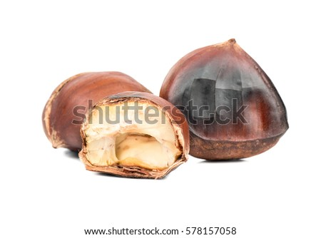 Delicious roasted chestnuts with a half on a white background