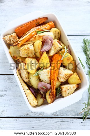 delicious roasted vegetables, food - stock photo