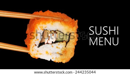 Delicious roll isolated on black with space for your text - stock photo