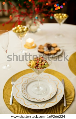Delicious salad served in a martini glass - stock photo