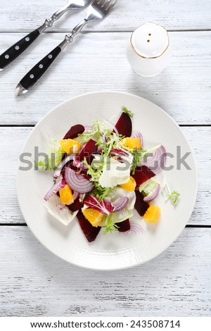 delicious salad with beets, food top view - stock photo