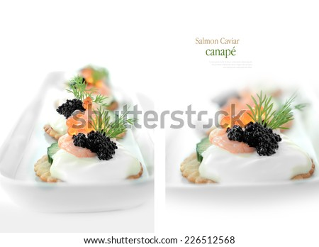 Delicious salmon caviar and shrimp canape against white. Macro and standard views. Copy space. - stock photo
