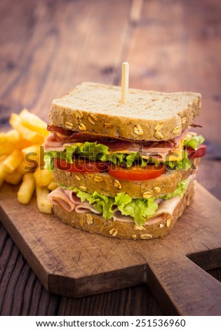Delicious sandwich with French fries on the table - stock photo