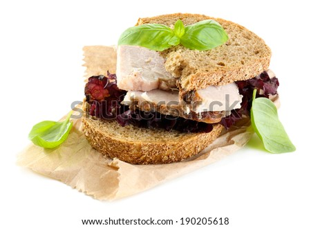 Delicious sandwiches with meet isolated on white - stock photo