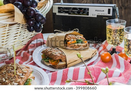 Delicious savory salad sandwiches served on a red and white checked tablecloth for a healthy outdoors summer picnic