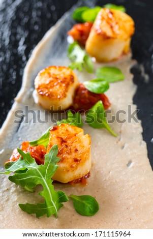 delicious scallops - stock photo