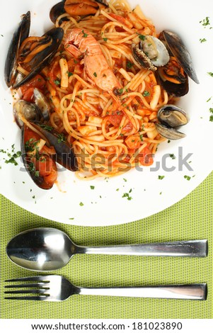 Delicious sea food pasta - stock photo