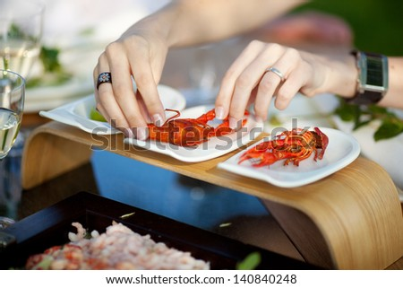 delicious seafood on modern plates in restaurant - stock photo