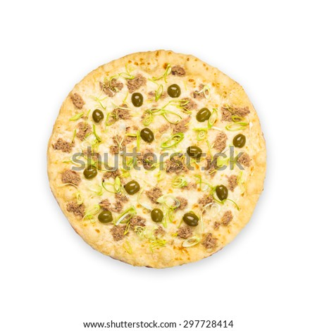 Delicious seafood pizza with tuna fish, olives and leek - thin pastry crust at white background above view - stock photo