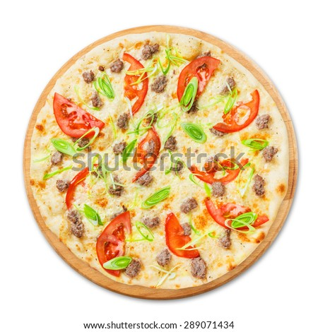 Delicious seafood pizza with tuna fish, tomatoes and leek - thin pastry crust, above view isolated at white