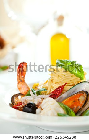 Delicious Seafood Spaghetti Selective Focus - stock photo