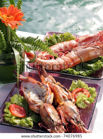 Delicious Set seafood at swimming pool - stock photo