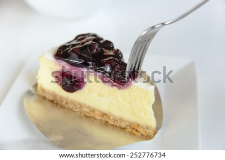 Delicious slice Cheesecake with blueberries - stock photo