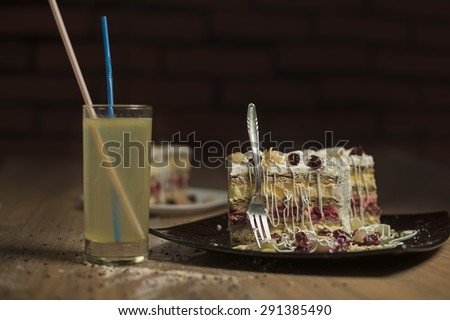 Delicious slice of cake, shallow depth of field - stock photo