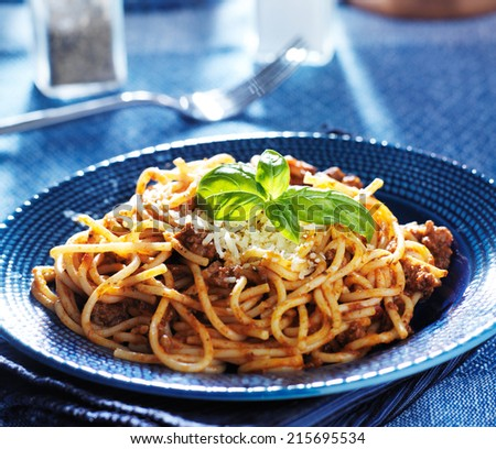 delicious spaghetti in bolognese sauce with basil garnish - stock photo