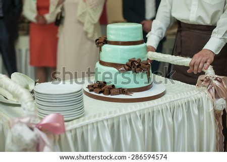 delicious special blue wedding cake with brown ribbons and bows for a luxurious couples - stock photo