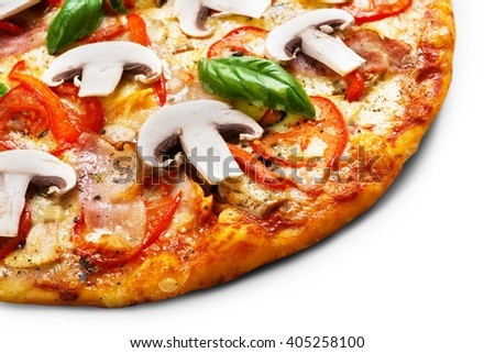 Delicious spicy pizza background - with mushrooms, peppers, ham, cherry tomatoes and pepperoni - thin pastry crust piece, closeup at white background, isolated.  - stock photo
