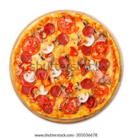 Delicious spicy pizza with mushrooms, chili peppers and pepperoni - thin pastry crust at wooden round desk isolated at white background, above view - stock photo