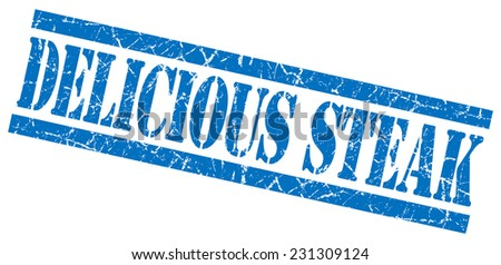delicious steak blue square grunge textured isolated stamp - stock photo