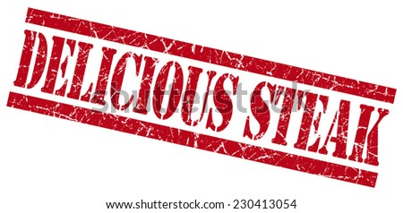 delicious steak red square grunge textured isolated stamp - stock photo