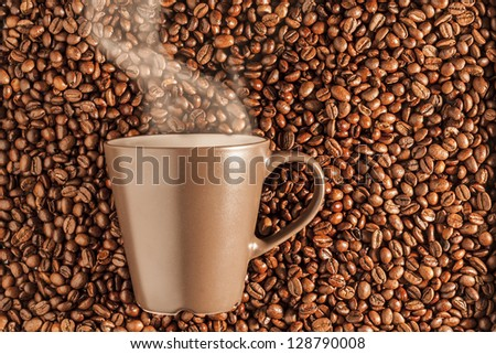 delicious steaming hot coffee still life - stock photo