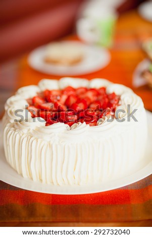 Delicious strawberry cake with strawberries - stock photo