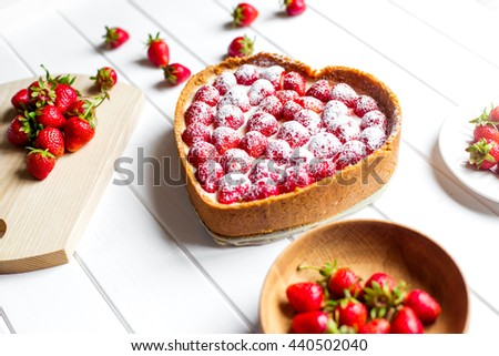 delicious strawberry cheesecake on table - stock photo