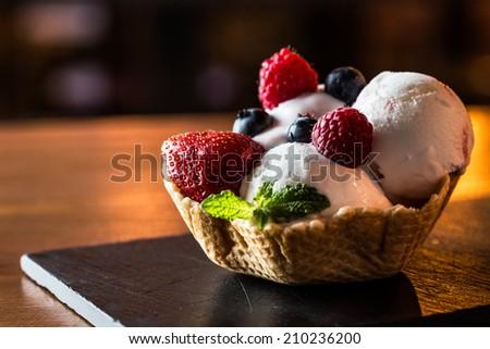 Delicious strawberry ice cream in a restaurant. - stock photo