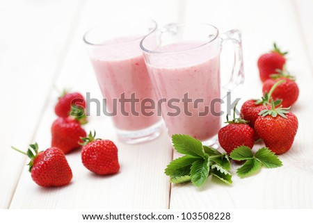 delicious strawberry smoothie - food and drink - stock photo
