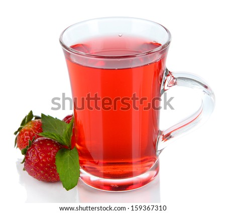 Delicious strawberry tea isolated on white