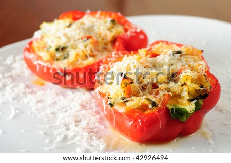 Delicious stuffed paprika (pepper) specialty. - stock photo