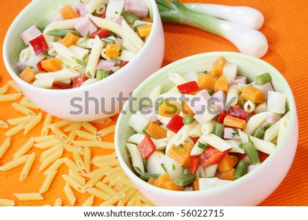 Delicious summer vegetable salad with pasta