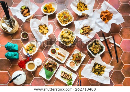 Delicious sumptuous Aerial View of Chinese Food Plates - stock photo