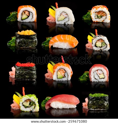 Delicious sushi, maki, nigiri pieces isolated on black background - stock photo