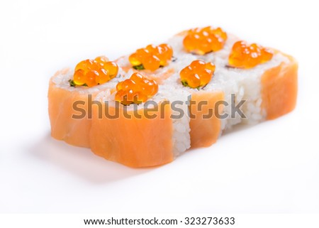 Delicious sushi on a white background of the different products on the Japanese recipe.