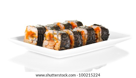 delicious sushi on plate isolated on white