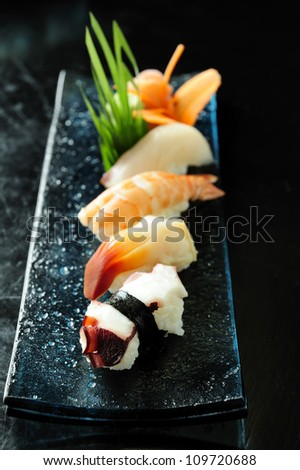 Delicious sushi rolls,japan traditional food - stock photo