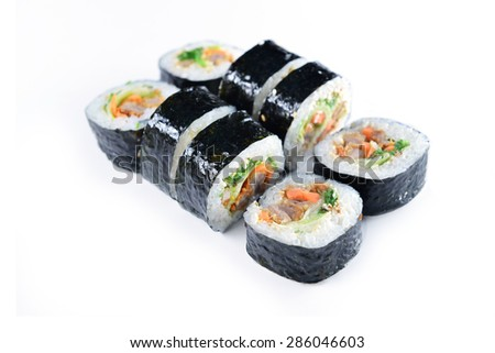 Delicious sushi rolls  on white background