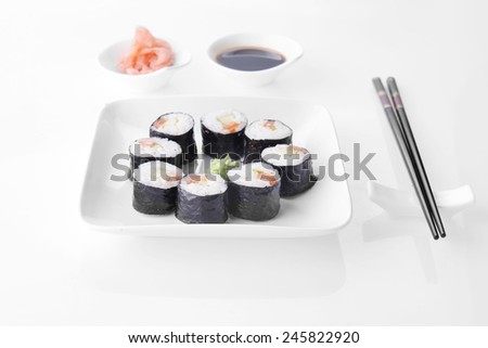 Delicious sushi rolls on white plate