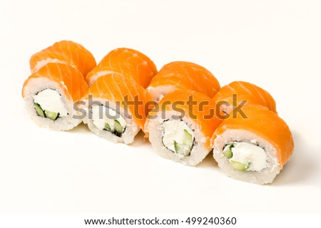 delicious sushi rolls with salmon